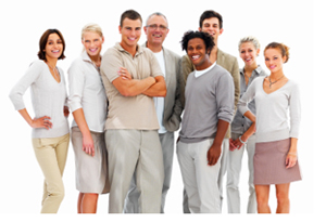 Happy business people standing together against white background